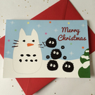 Snow Totoro and Soot Sprites Christmas Card