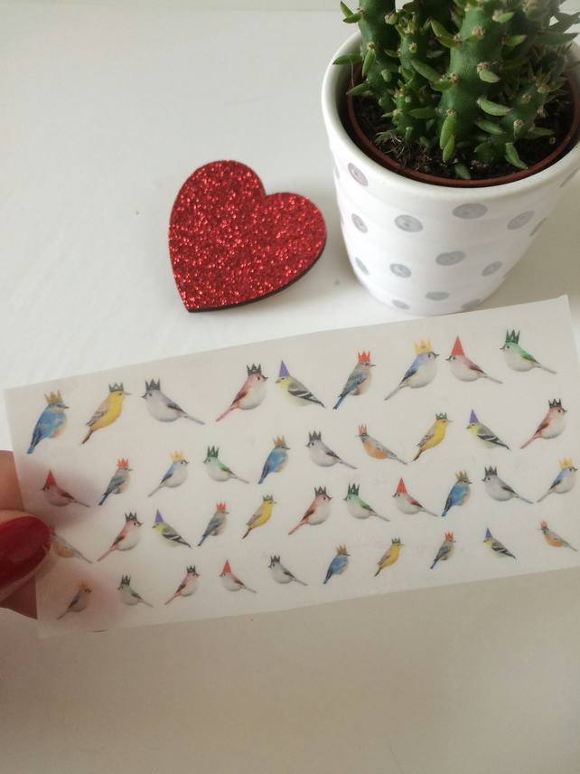 Birds with Hats Nail Decals - pack of 40