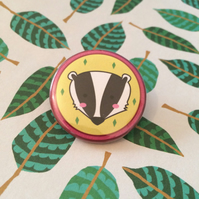Badger Wildlife Pin - 38mm Badge