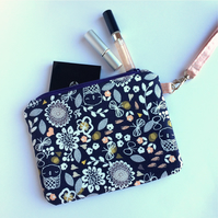 Owl fabric zip pouch