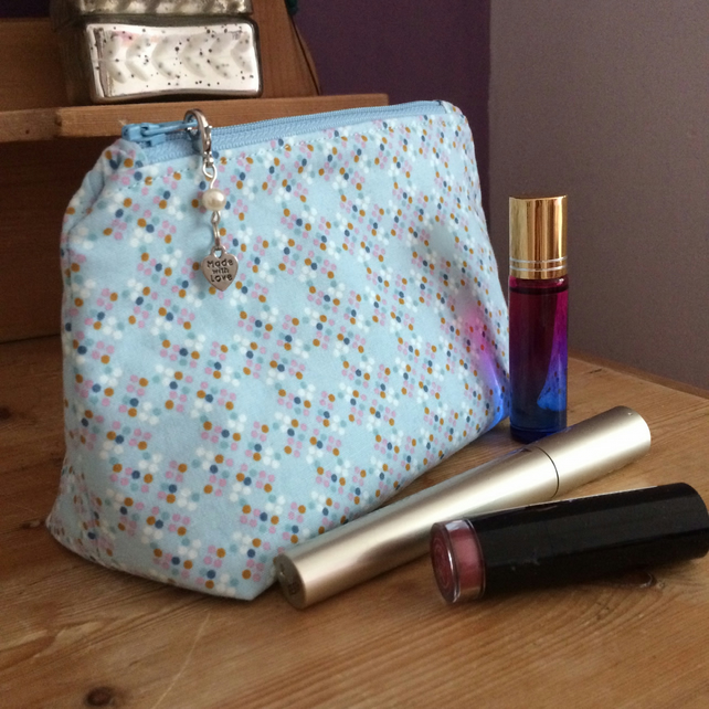 Pale blue cosmetics bag, zipped pouch, craft bag