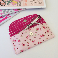 Pink floral fabric sunglasses, glasses case