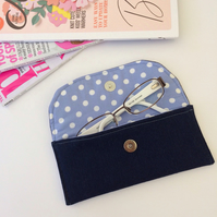 Blue spotty glasses or sunglasses case