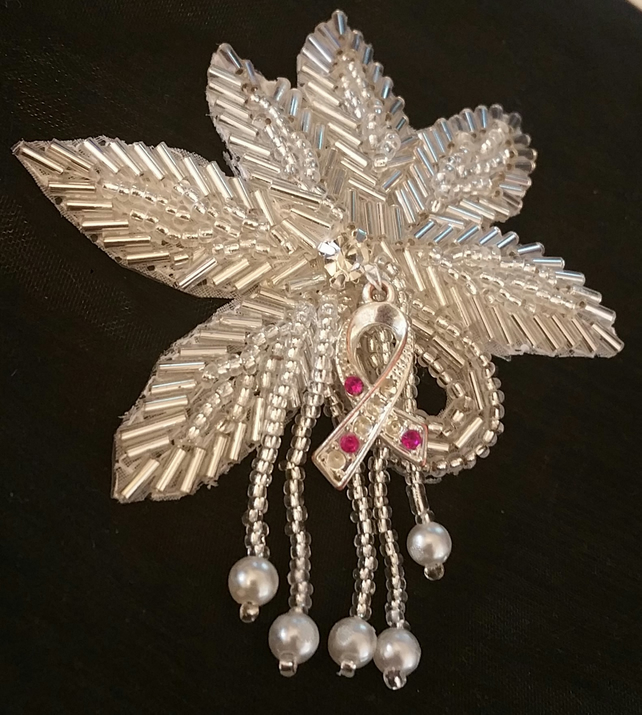 Sentimental Wedding Hair Clip with a small Breast Cancer token