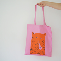 """Hi"" Cat Man - Tote Bag Pink"