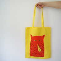 """Hi"" Cat Man Tote Bag - Yellow"