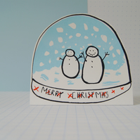 Merry Christmas Snow Globe - Screen Printed Card