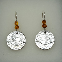 Medieval Birds with amber nuggets - Drop Earrings