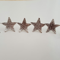 Sterling Silver Textured Star Earrings