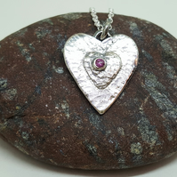 Two Heart Necklace with Garnet
