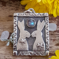 Love Hares Pendant   (reduced)