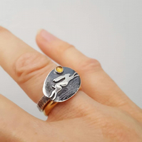 Running Hare Ring (with choice of stone)