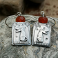 Gazing Hare Earrings with Carnelian Beads
