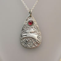 Leaping Hare Pendant with garnet
