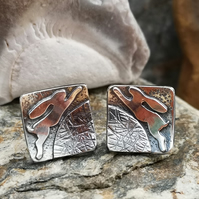 Square Leaping Hare Stud Earrings