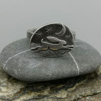 Running Hare Ring with Crescent Moon (UK SIZE O)