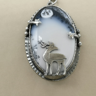 Pictish Stag Pendant with Dendritic Opal