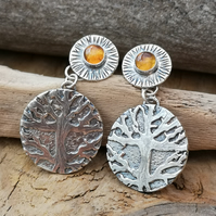 Silver Tree Earrings with Citrine (reduced)