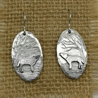 SIlver Wolf Drop Earrings