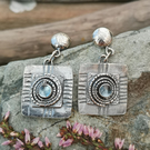 Sterling Silver Spiral Stud Drop Earrings with Blue Topaz