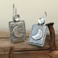 Crescent Aqua Moon Earrings