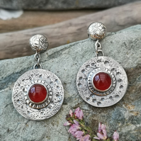 Carnelian Silver Shield Earrings