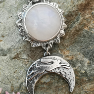 Moon Flower Hare Necklace