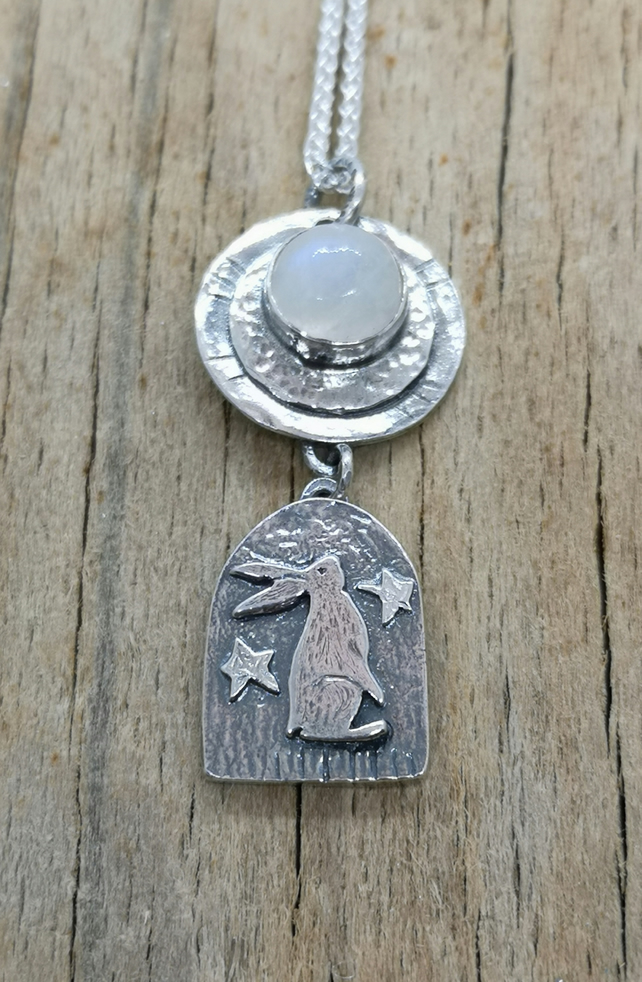 Gazing Hare with Moonstone Pendant