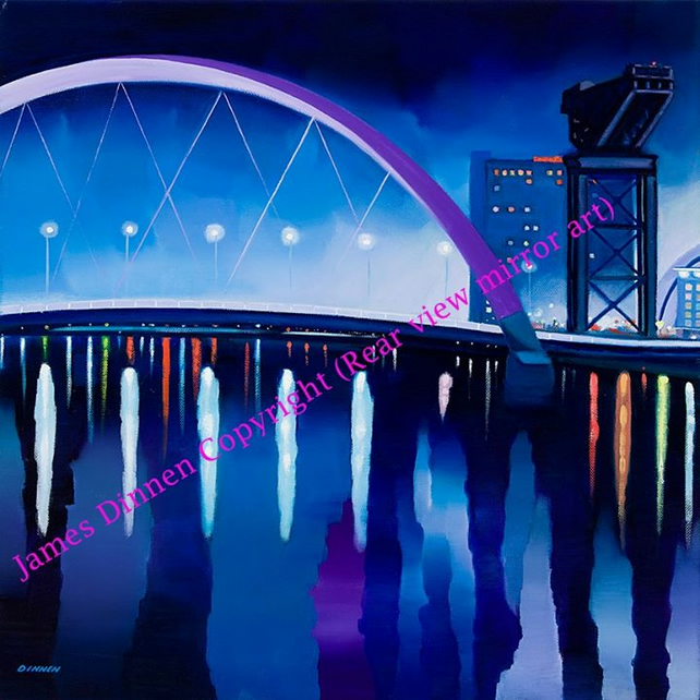 Limied Edition  Giclee print  , Squinty Bridge Glasgow ( uk postage free )