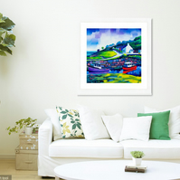 Large limited edition giclee print of Corrie Harbour, Arran (FREE UK POSTAGE)