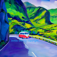 Glencoe ,Volkswagen Campervan,Limited edition giclee mounted print ( Free PP UK)