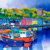 Signed limited edition of Tobermory Harbour , Mull(Free Postage UK)