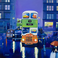 Personalised limited edition giclee  print old Glasgow Bus ( Free PP )