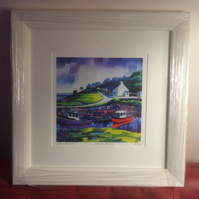 "Framed Corrie Harbour, Arran   16 x 16"" Limited Edition giclee free pp UK"