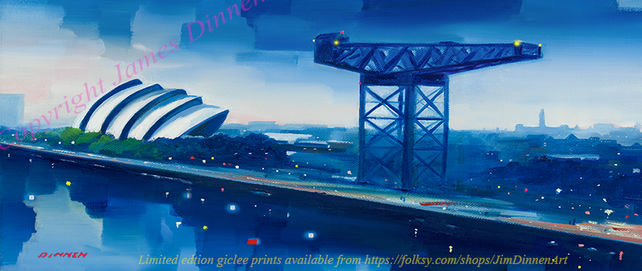 Panoramic Finnieston Crane and Armadillo  ltd edition giclee print ( free uk PP)