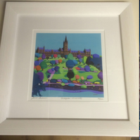 Small framed Limited Edition Giclee Print, Glasgow University  (Free pp UK)
