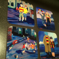Set of four Partick Thistle football fan themed coasters