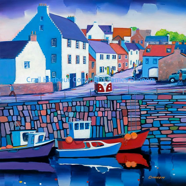 Large Framed Limited edition Giclee print  Crail Harbour