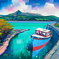 Mounted and Cello wrapped Brodick Harbour , Arran  ( free postage UK)