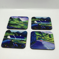 Four piece Glencoe coaster set