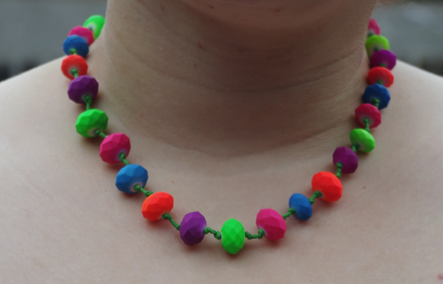 Neon bright multicoloured beads knotted green cord necklace, 19.5-20.5""