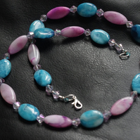 Pink and Turquoise Agate Necklace. 21 inches, 53.3cm