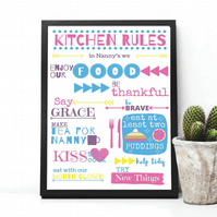 Personalised Kitchen Rules Poster