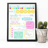Reasons I love you- personalised print