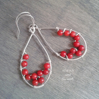 Delicate coral teardrop earrings