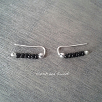 Black ear cuffs with small glass beads