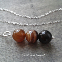 Contemporary sterling silver necklace with agate pendant