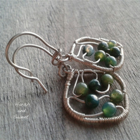 Small dangle earrings with green moss agate