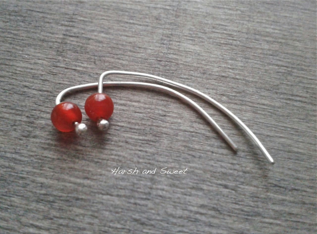 Alternative ear jackets with carnelian gemstone