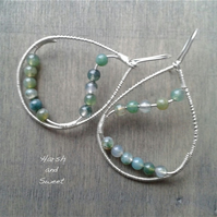 Feminine teardrop moss agate earrings